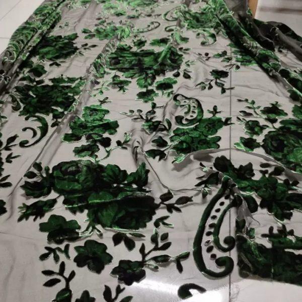20210209 220338 Emanuel Ungaro Silk based Devore velvet fabric floral pattern/Devore Silk fabric Italian Couture 3