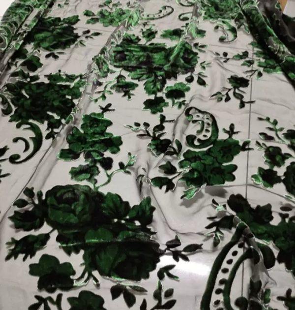 20210209 220359 Emanuel Ungaro Silk based Devore velvet fabric floral pattern/Devore Silk fabric Italian Couture 1