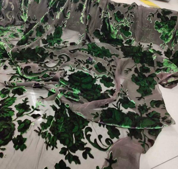 20210209 220457 Emanuel Ungaro Silk based Devore velvet fabric floral pattern/Devore Silk fabric Italian Couture 2