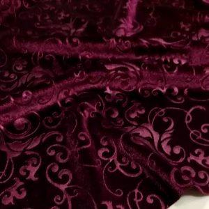 Italian elastic embossed velvet fabric/Devore couture fabric