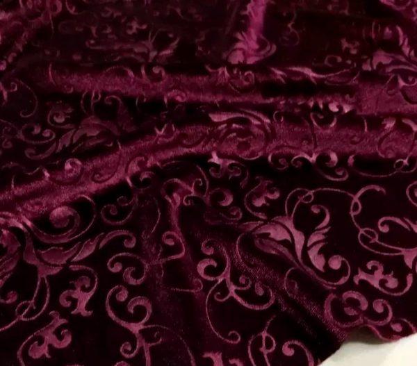 Italian elastic embossed velvet fabric
