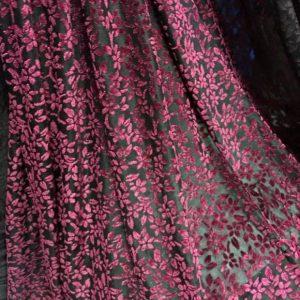Emanuel Ungaro Fabric Velvet burn out silk fabric/New collection Devore velvet fabric/Colour #1 BURGUNDY