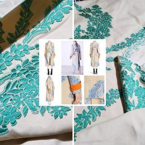 Fendi Fabric Cotton linen embroidery trench coat/dress fabric Fendi fashion week fabric/Limited ONLY!