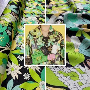 Fendi silk stretch fabric/Flowers print digital inkjet 2021 Fendi fashion week fabric