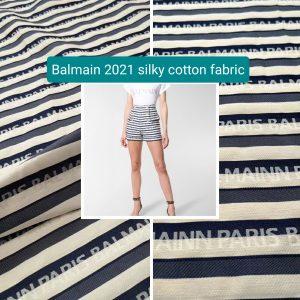 Balmain fabric for clothing/2021 Fashion week silky cotton polyester fabric for dress,skirt,shirt,shorts.