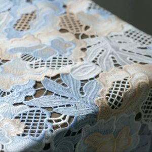 Alberta Ferreti fabric Broderie anglaise silk fabric/Exclusive fashion week reticulated fabric
