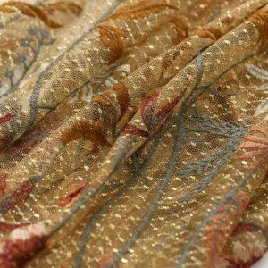 Oscar De La Renta gold silk yarn embroidered fabric/By preorder only