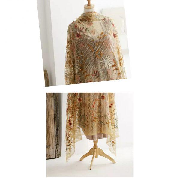 Oscar De La Renta gold silk yarn embroidered fabric