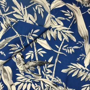 Valentino fabric Mulberry Silk digital inkjet Foliage and Birds pattern/2021 Designer Silk Fabric /Colour #2 Navy blue