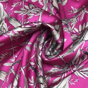 Valentino fabric Mulberry Silk digital inkjet Foliage and Birds pattern/2021 Designer Silk Fabric /Colour #1 Pink