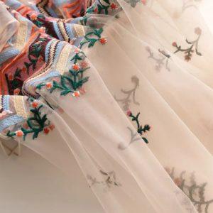 Italian Designer Embroidery on silk gauze fabric 2021 collection/Wedding,ceremonial,from dress,light,transparent
