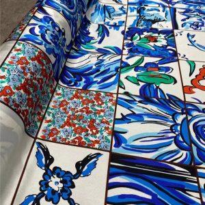 Italian silk twill stretch fabric sicily pattern tile Mulberry Silk fabric
