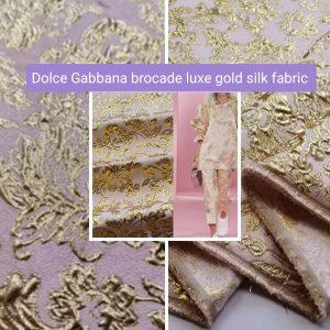 Luxury Italian Fabric/Fashion week Brocade gold silk 3D jacquard