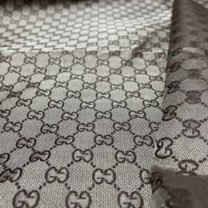 Gucci Fabric/Gucci Jacquard BROWN logo/Gucci Fabric for clothing
