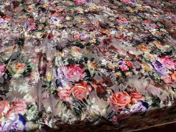 Italian Designer burnt out silk velvet floral pattern