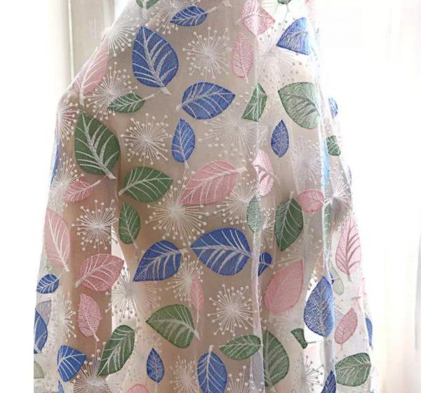 Georges Hobeika leaf design embroidery silk fabric/2021 Fashion week collection fabric 1