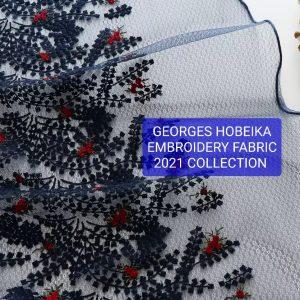 Georges Hobeika embroidery silk soft fabric/Italian fabric yarn embroidery