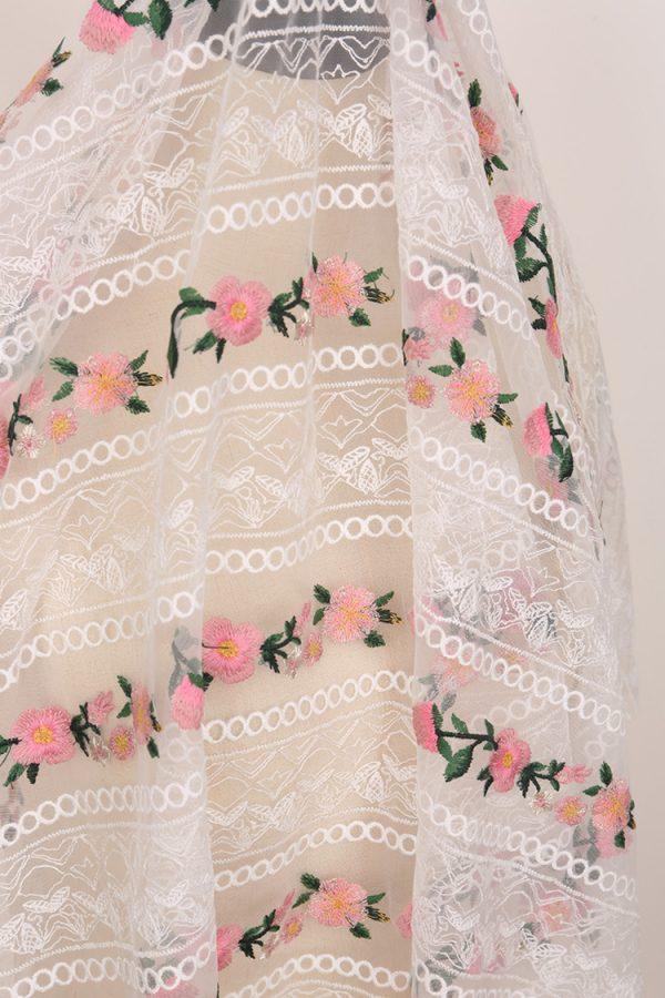Alberta Ferretti fabric Exclusive embroidery silk mesh