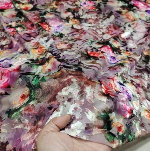 Italian Designer burnt out silk velvet