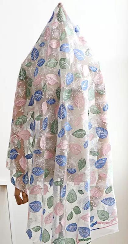 Georges Hobeika leaf design embroidery silk fabric/2021 Fashion week collection fabric 2