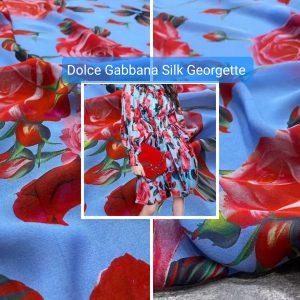 Italian Designer Silk Georgette flowers print fabric/SS 2021 fashion week fabric