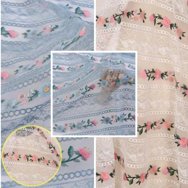 PhotoCollage 20210623 160738498 Alberta Ferretti fabric Exclusive embroidery silk mesh fabric/Alta moda 2021 fabric /Colour White also available in black,Blue 1