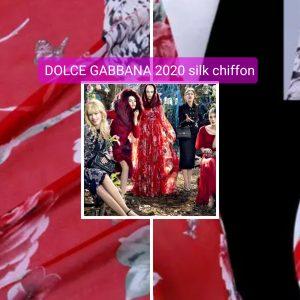 Silk chiffon squirrels birds colour #2 Collection 2020 Milan Fashion week