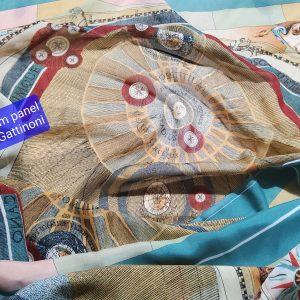 Italian silk chiffon fabric sold by panels,planetarium design Gattinoni