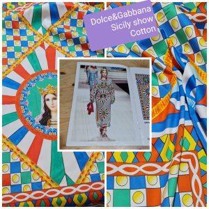 Italian Cotton Sicily Show Majolica fabric 2 panels each 150/150cm for tunics,kaftan