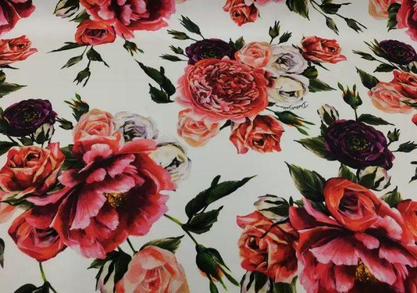Dolce Gabbana Silk roses fabric