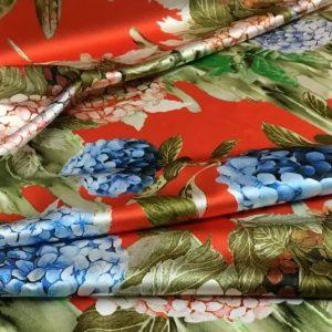 Italian Designer Silk Stretch satin fabric,D.ce & G.na Hydrangea silk fabric