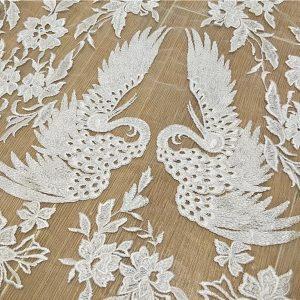 Wedding embroidery silk fabric