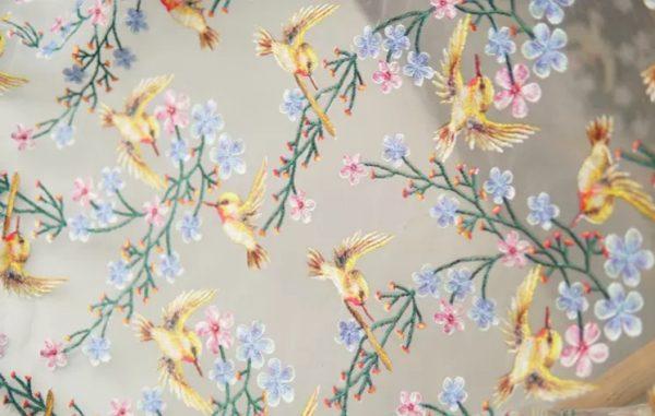 Italian Designer silk mesh embroidery fabric with birds