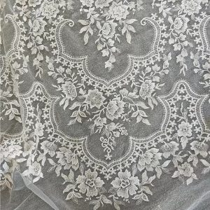 Georges Hobeika sequin embroidered silk fabric,2021 Collection Italian Wedding Lace Embroidery Fabric