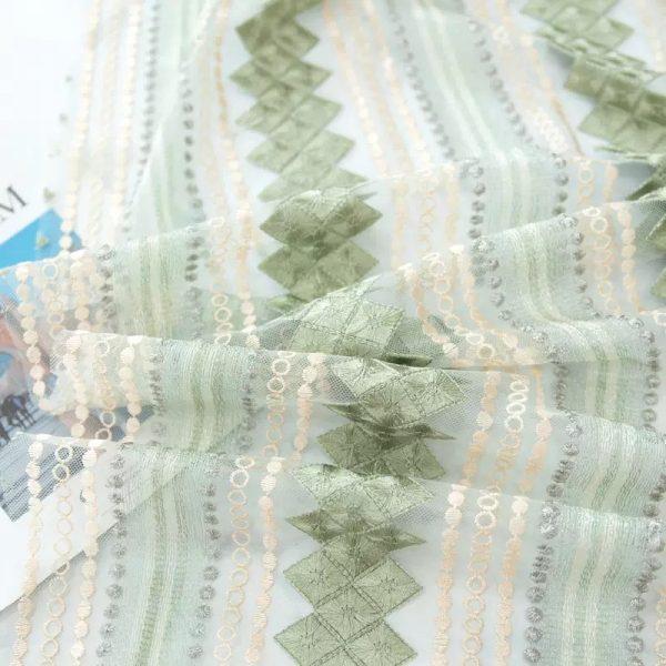 Alberta Ferretti silk gauze embroidery lace fabric