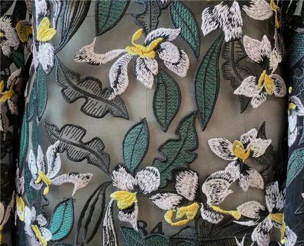 Alexander McQueen fabric embroidered on silk