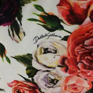 Italian Designer Silk Stretch Fabric Fashion week roses Silk
