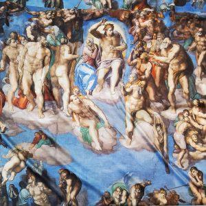 Michelangelo Last Judgement digital inkjet print on silk fabric,Exclusive Limited fabric