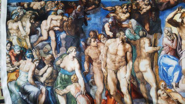 "Silk Panel Digital print of ""Last Judgement "" Michelangelo."