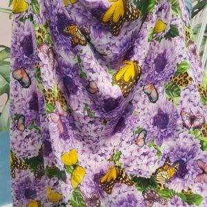 Italian Designer Fabric,Heavy Silk with butterflies and flowers inkjet,Alta Moda/colour #2