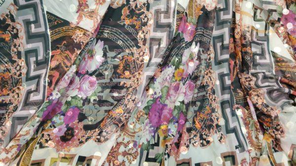 Exclusive Silk Chiffon Devore with velvet Dots