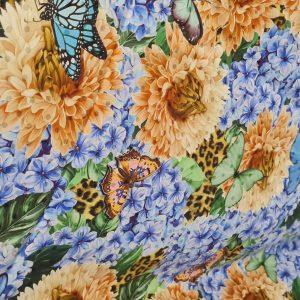 Italian Designer Fabric,Heavy Silk with butterflies and flowers inkjet,Alta Moda