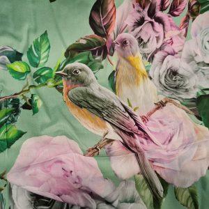 Exclusive Italian Silk Raso Fabric from Fashion Week,Alta Moda with digital inkjet on light mint colour birds pattern,Limited Quantity
