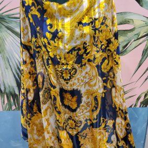 Versace silk peken chiffon Alta Moda,Versace Baroque in Black(Navy) and Gold with silk stripes(peken silk) Inkjet technique,Limited Only