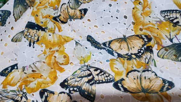 Zimmermann Cotton sangallo inkjet with butterflies on eyelets embroidered base