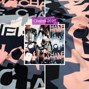 French Designer Silk fabric Monogram fabric 2021 Fashion Week by preorder