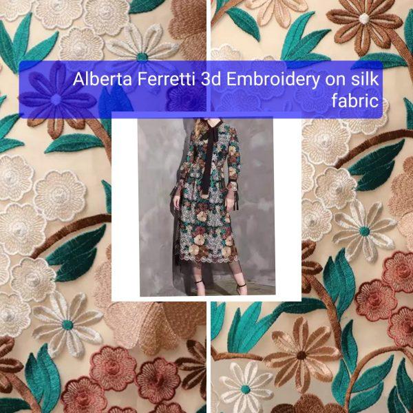 Alberta Ferretti 3d embroidery on silk fabric