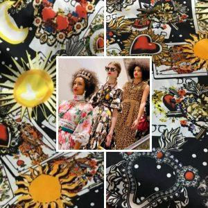 Italian Designer Silk Fabric cards design/Fashion week sacred heart cards design