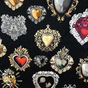 Italian Silk fashion week fabric Sacred Heart Silk Stretch Fabric