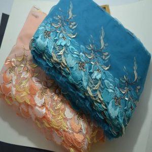 Italian embroidery lace on silk